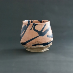 Pink and blue splash tea bowl