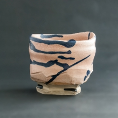 Pink and blue tea bowl
