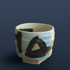 Turquoise triangle tea bowl