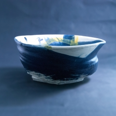 Large blue and yellow bowl
