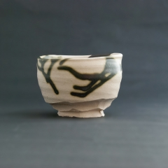 White and green splash tea bowl