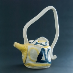 Blue and yellow teapot