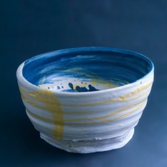 Blue and yellow bowl