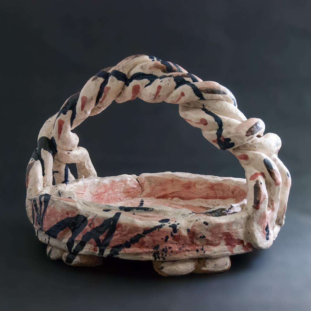 .@libertylondon #libertyopencall2018 flax twisted basket #bigandbold #handmade #madeinengland #studioceramics #pink #blue #hopeyoulikeit #unique #objet #ceramics